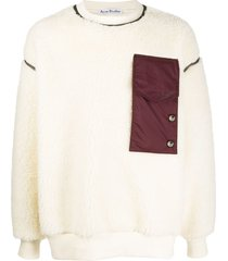 acne studios contrast pocket fleece sweatshirt - neutrals