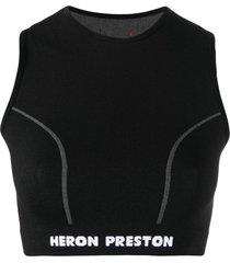 active logo crop top, black