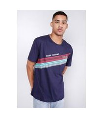 camiseta estampada faixas refletivas azul marinho gang masculina