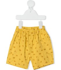 knot cargo animal-print shorts - yellow