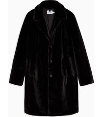 mens black single breasted longline faux fur coat