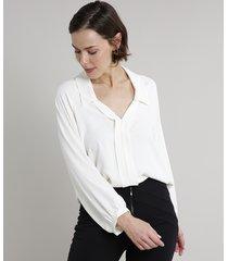 camisa feminina ampla manga longa off white