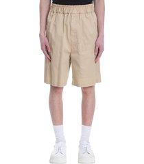 shorts in beige cotton
