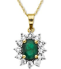 10k gold necklace, emerald (7/8 ct. t.w.) and diamond accent pendant