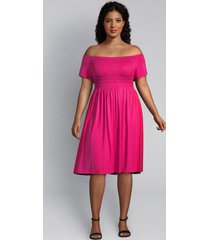 lane bryant women's shirred swing dress 26/28 magenta cosmo