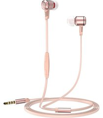 audífonos manos llibres, m410 auriculares corrientes del juego del auricular del deporte estupendo estupendo de 3.5mm metal en auriculares del oído con el micrófono para el teléfono (oro de rose)