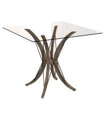 mesa de jantar quadrada com tampo de vidro miami incolor e freijó 90 cm