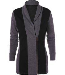 two tone shawl neck zipper knit cardigan