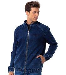 jaqueta leve long island denim azul - kanui