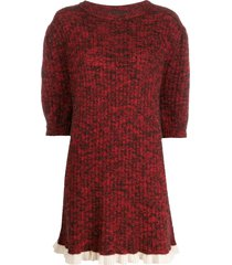 cashmere in love ribbed petra sweater dress - red