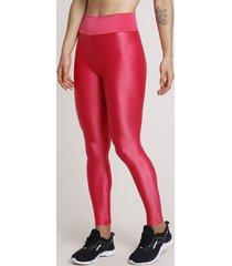 calça legging feminina esportiva ace texturizada rosa