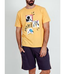 pyjama's / nachthemden admas for men pyjama kort t-shirt mickey back at it disney oranje admas