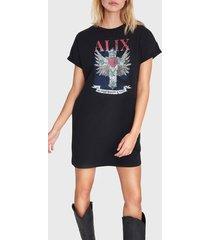alix 201836461 ladies knitted cross long t-shirt zwart