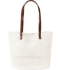 borsa shopper in simil paglia (bianco) - bpc bonprix collection