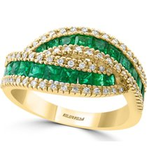 effy emerald (1-1/2 ct. t.w.) & diamond (1/4 ct. t.w.) crossover statement ring in 14k gold