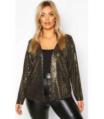 plus kraagloos jasje met metallic pailetten, goud