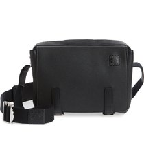 men's loewe extra small military leather messenger bag - black