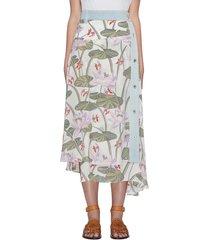 'paula's ibiza' watrlily print asymmetric skirt