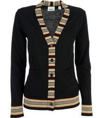 burberry cauca - icon stripe detail merino wool cardigan