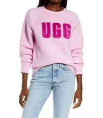 ugg(r) collection madeline fuzzy logo sweatshirt, size medium in rose quartz /wild violet at nordstrom