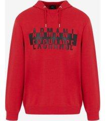 ax armani exchange raised textured logo cotton drawstring sweatshirt