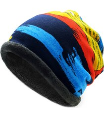 hip-hop beanies skullies e sciarpa stampati a righe in plus cashmere antivento