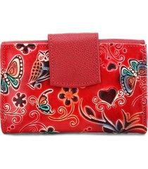 billetera pequeña 046 cuero tala flores rojo