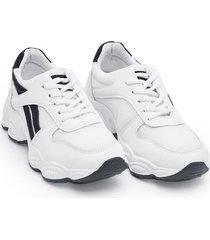 tenis mujer franjas negras color blanco, talla 38