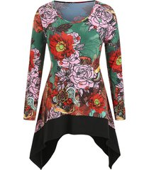 plus size round collar asymmetric ditsy print t shirt