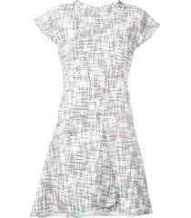 chanel pre-owned cap sleeve tweed dress - white