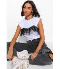 mesh frill cap sleeve t shirt, white