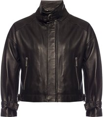 leather jacket with band collar