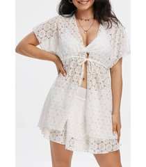 3 piece padded lace swimsuit bra skirt and cover up
