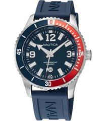 nautica men's analog blue silicone strap watch 44 mm