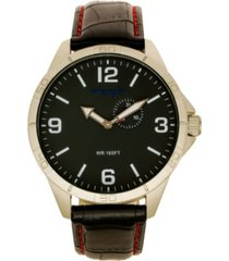 wrangler men's watch, 48mm ip silver case with white dial, tan strap