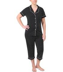 miss elaine geo-print button top & cropped pants pajamas set