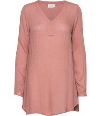 amber v-neck tunic blus långärmad rosa kaffe