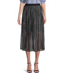 sanctuary women's pleated sheer skirt - black sparkle - size l