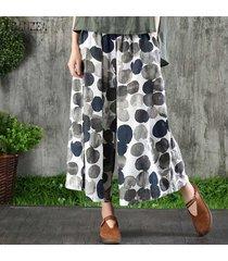 zanzea mujeres elásticos de la cintura del punto de polca pantalones sueltos bolsillos anchos el tamaño de la pierna pantalones plus -azul