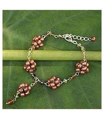 cultured pearl flower bracelet, 'bronze mums' (thailand)