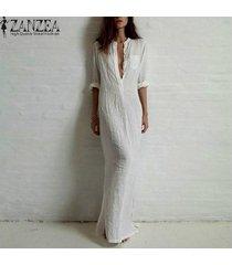 zanzea más el tamaño de la moda de manga larga vestidos mujer primavera otoño de split atractivo del vestido ocasional del cuello de o lino vestido sólido maxi largo -blanco