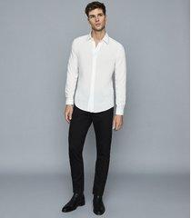 reiss paris - slim fit braid trimmed shirt in white, mens, size xxl