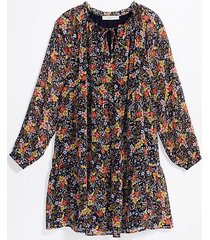 loft tall floral tie neck swing dress