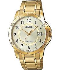 reloj casio mtp_v004g_9b dorado metal