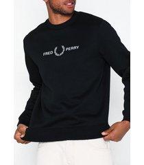 fred perry graphic sweatshirt tröjor black