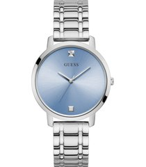 guess unisex diamond accent stainless steel bracelet watch 34mm