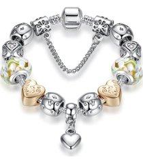 pulsera lujo mujer cuentas cristal murano plateada 3741