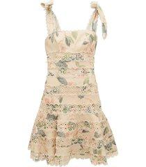 kirra broderie anglaise floral-print linen dress