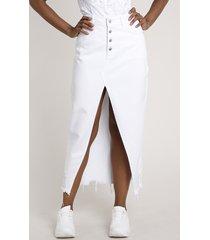 saia de sarja feminina longa com fenda e barra desfiada branca