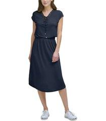 dkny lace-up-neck elastic-waist dress
